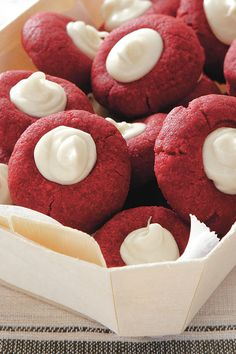 This cookie version of everyone's favorite cake has been shared on Pinterest more than 30,000 times, and it's easy to see why. These showstoppers will take center stage on any Christmas cookie tray thanks to their fabulous color and creamy white chocolate center.