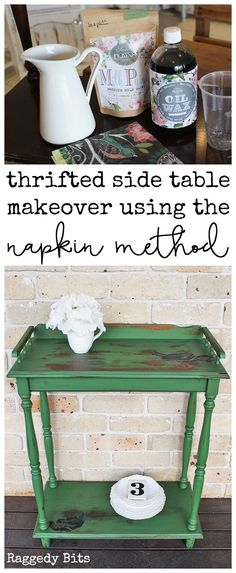 After finding this sweet little side table it needed some love. Thrifted Milk Paint Side Table Makeover Using the Napkin Method | www.raggedy-bits.com | #sweetpickins #milkpaint #inapickle #paint #furniture #farmhouse #raggedybits