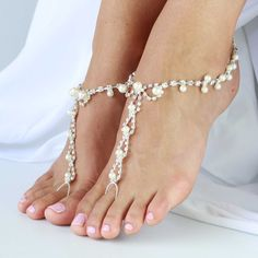 9c6961afc Barefoot sandals with rhinestones and pearl beads. One Size fits all -  LAI  LANI