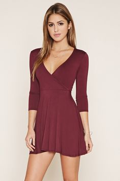 Surplice Skater Dress | Forever 21 - 2000178258