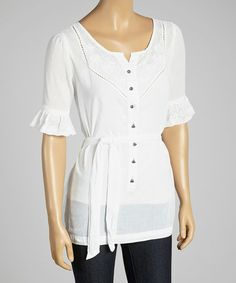 Love this White Ruffle Sleeve Henley by Da-Nang on #zulily! #zulilyfinds