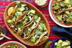 Corn and black bean tacos with avocado and queso fresco