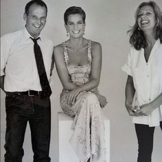 Princess Diana with her stylists during her Mario Testino shoot for Vanity Fair.