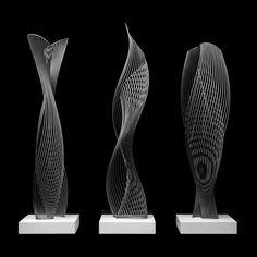 'Hague' Series - based on 'Lift'-'Pitch'-'Oasis' x x with bases Powder Coated Steel Steel Sculpture, Sculpture Art, Water Sculpture, Bamboo Art, Parametric Design, Indian Artist, Wire Art, Installation Art, Sculpting