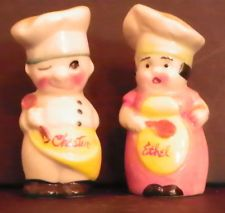 VINTAGE CHESTER AND ETHEL CHEFS SALT AND PEPPER SHAKER SET 5477S