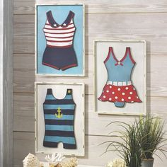 Set of 3 Vintage Bathing Suits. A trio of vintage beach styles! Antiqued white frame. Solid and composite wood.