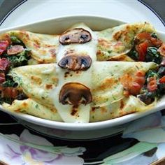 Crepes with Spinach, Bacon and Mushroom Filling