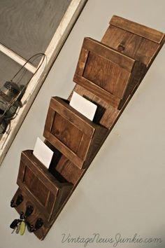 Wood Mail Sorter with Key Hooks