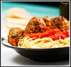 Spaghetti & No-Meatballs. Vegan.  finally vegan meatballs that aren't made from soy products!!!!