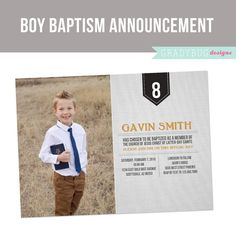 LDS Baptism Invitation Printable for Boys by gradybugdesigns