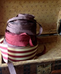 striped burgundy and cream ribbon by ShyMyrtle on Etsy, $2.00