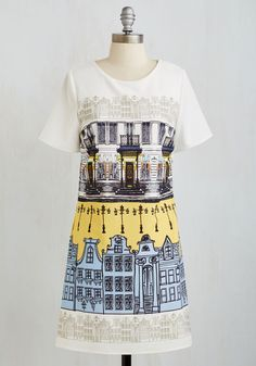 Breezy Street Dress. The sights and sounds of the city will seem a bit more blithe than usual when youre wearing this white shift dress. #multi #modcloth