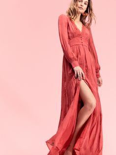 Vintage Button Through Maxi Dress | Vintage-inspired maxi dress featuring embroidery detailing.    * Plunging V-neckline with scalloped trim   * Exposed button closures at the waist   * Hidden button closures on the skirt   * Bust is sheer   * Skirt is lined
