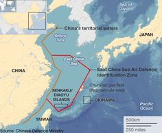 Map of the East China Sea and China's declared air defense zone.