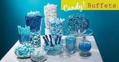 Candy buffets are a hot idea for schools and are easy to execute for any school event, like your Homecoming dance, Prom night, and your Senior All-Night Party.