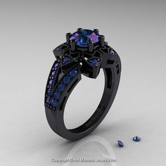 Art Deco 14K Black Gold 1.0 Ct Alexandrite by DesignMasters, $2849.00