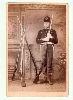 Late 1800s Cabinet Photo - Military Cadet w/ Bayonet Rifles - Elmer E. Whitman