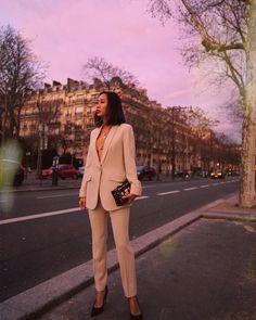 Beige Pantsuit w/ Armani Beauty in Paris