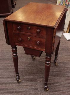 VICTORIAN 19th Century Small Sized Walnut PEMBROKE SEWING TABLE