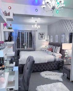 Fancy Bedroom, Grey Bedroom Decor, Bedroom Decor For Teen Girls, Room Design Bedroom, Stylish Bedroom, Bedroom Ideas, Master Bedroom, Bedroom Makeovers, Bedroom Signs
