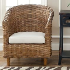 Add a dash of country flair to your living room with this indoor wicker barrel chair from the St. Thomas collection by Safavieh. Featuring a beautifully woven honey brown wicker, this indoor wicker ba Living Room Accents, Accent Chairs For Living Room, Dining Room Bar, Dining Chairs, Kitchen Seating, Living Rooms, Rattan, Bar Furniture, Furniture Deals