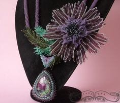 Blooming Dreams -  Beaded Necklace with Ruby in Zoisite Cabochon and Clematis flower