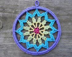 6 inch Crochet Mandala Dreamcatcher Lace Doily Wall Art Hanging in Rainbow Colors, Unique Boho Hippie Home Decor Lace Doilies, Crochet Doilies, Crochet Flowers, Crochet Mandala Pattern, Crochet Patterns, Crochet Dreamcatcher, Crochet Baby Beanie, Hippie Home Decor, Yarn Needle