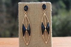 Peach Roots - Black and Gold Marquise Earrings, $10.00 (http://peachroots.com/black-and-gold-marquise-earrings/)
