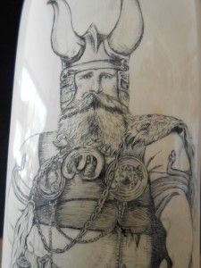 Viking Warrior in horned helmet by Belle Ochs