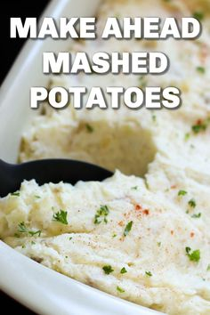 Our fluffy, extra-creamy mashed potatoes can be quickly thrown together and reheated the next day. They make the perfect Thanksgiving or Christmas side dish! Best Thanksgiving Side Dishes, Christmas Side Dishes, Best Side Dishes, Healthy Side Dishes, Side Dish Recipes, Thanksgiving Recipes, Main Dishes, Supper Recipes, Thanksgiving Sides