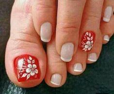 Toenail Art Designs, French Nail Designs, Pedicure Designs, Pedicure Nail Art, Red Pedicure, Pretty Toe Nails, Cute Toe Nails, Toe Nail Color, Toe Nail Art