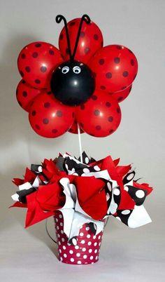 Ladybug balloons for a Ladybug Birthday Party Balloon Centerpieces, Balloon Decorations, Birthday Decorations, Ladybug Party Centerpieces, Ladybug 1st Birthdays, First Birthdays, First Birthday Parties, Birthday Party Themes, Frozen Birthday