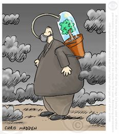 An environmental cartoon about air pollution A cartoon showing a man using an oxygen cylinder to breathe fresh air in a polluted atmosphere. The oxygen cylinder contains a tree that is generating o… Cartoon Shows, A Cartoon, Cartoon Images, Pictures With Deep Meaning, Earth Drawings, Satirical Illustrations, Meaningful Pictures, Save Our Earth, Political Art
