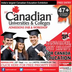 #CanamConsultants is coming to Bangalore with their exclusive #CanadaEducationFair that will give you a chance to ask as many questions you want or get clarifications on your doubts related to higher study options and opportunities in Canada. Register now for making your #CanadaEducation dream come true! #StudyAbroad #Best_Education_Immigration_Consultancy. Register Today For Free Priority Pass. http://www.canadaedufair.com/register.php