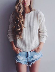 Denim cut-offs, comfy sweater, and perfect beachy curls