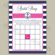 INSTANT DOWNLOAD Nautical Bridal Bingo in navy and hot pink (other colors available!). Printable/DIY design by double u design on Etsy
