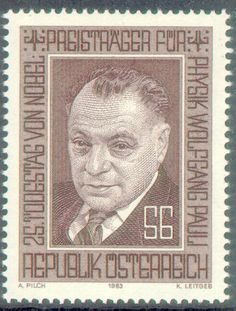 """On this day in #chemistry  April 25th  Austrian American physicist Wolfgang Pauli was born on this day in 1900 He is most famous for the Pauli """"exclusion principle"""", which states that in an atom no two electrons can occupy the same quantum state simultaneously. He was awarded the Nobel Prize in Physics in 1945 for his work.   Wolfgang Pauli appears on a 1983 Austrian stamp issued on the 25th anniversary of his death"""