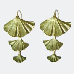 Michael Michaud Gingko Triple Drop Earrings