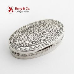 Antique Silver, Antique Jewelry, Cigarette Box, Scroll Pattern, Smoking Accessories, Pill Boxes, Little Boxes, Dose, Tins