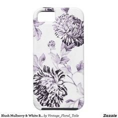 Blush Mulberry & White Botanical Floral Toile No.2