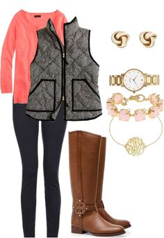 Tory Burch riding boots / Brooks Brothers stud earrings / J.Crew j crew / Kate Spade jewelry / Silver bracelet Preppy Outfits, Preppy Style, Cute Outfits, Preppy Girl, Mommy Style, Passion For Fashion, Love Fashion, Womens Fashion, Fall Winter Outfits