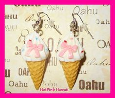 Large 3D Ice Cream Cone Bow Sprinkles Silver Plated Drop Earrings USA HANDMADE #HotPinkHawaii #DropDangle