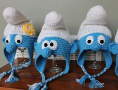 Smurf inspired hat You Choose Design and Size от AddysHats на Etsy Crochet Baby Costumes, Crochet Kids Hats, Crochet Cap, Crochet Beanie, Crochet Gifts, Hand Crochet, Crochet Square Blanket, Animal Hats, Baby Hats