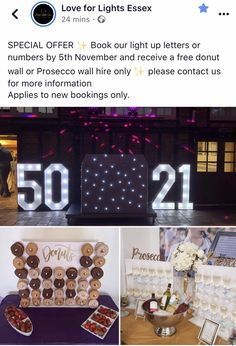Love For Lights Essex. SPECIAL OFFER ✨ Book our light up letters or numbers by November and receive a free donut wall or Prosecco wall hire only ✨ please contact us for more information Applies to new bookings only. Wedding Venues Essex, Light Up Letters, The 5th Of November, New Years Eve Party, Prosecco, Christmas And New Year, Numbers, Candy Cart, How To Apply