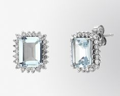 Aquamarine and Diamond Stud Earrings    Earring Information  Stock Number:  EAQ6054  Metal:  14k White Gold  Gram Weight:3.00   Backing: Push back  Rhodium Plated: Yes  Diamond Information:  Carat Total Weight: 0.45 cts  Color: H-I  Clarity: SI2  Setting Type:Prong Setting  $850