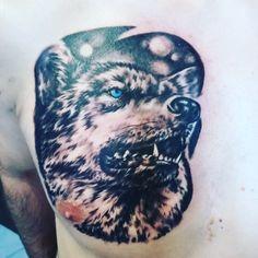 Wolf tattoo wolf chesttattoo tattoo