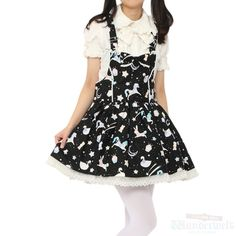 http://www.wunderwelt.jp/products/detail1887.html Black overalls dress Brand: Angelic pretty ¥ 12,990 tax No notation size Length: 85cm Cotton: 100% Rank B: dirt-free used clothes Used Lolita clothing shop Wunderwelt in Japan
