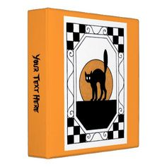 Vintage Checkered Frame With Black Cat 3 Ring Binder - cat cats kitten kitty pet love pussy