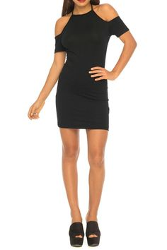 You'll be looking smokin' hot in this sexy LBD! With unique cut out shoulders and a halter neckline this figure hugging number is the perfect party piece. Style with barely there heels and a red lip.   Hollie Black Bodycon by Motel Rocks. Clothing - Dresses - LBD Clothing - Dresses - Night Out West Yorkshire Yorkshire and the Humber England United Kingdom