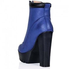 RUGGED Block Heel Cleated Sole Platform Ankle Boots Blue Leather Style (78 BAM) ❤ liked on Polyvore featuring shoes, boots, ankle booties, block heel booties, leather lace up boots, blue ankle boots, leather booties and lace up platform bootie